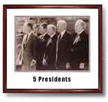 Meeting of the Presidents.Photograph of five presidents. Jimmy Carter, Richard Nixon, Ronald Reagan,  George Bush and Gerald Ford